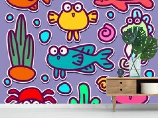 hand drawn kawaii doodle cartoon fish sticker designs for wallpapers, stickers, logos, emblems, pins, coloring books