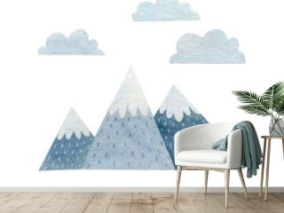 Mountain watercolor illustration isolated on white background.