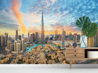 Dubai downtown, amazing city center skyline with luxury skyscrapers, United Arab Emirates