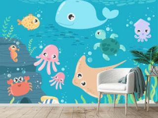 Fish and wild marine animals in ocean. Sea world dwellers, cute underwater creatures, coral reef inhabitants in their natural habitat, undersea fauna of tropics.