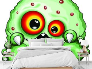 Virus Baby Monster Funny and Spooky Cartoon Character isolated on white