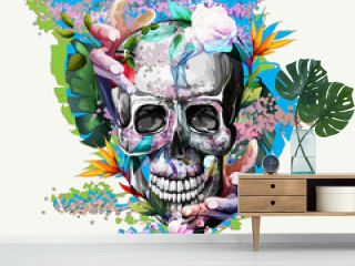 Vintage illustration of skull with flowers and hands on white. Hand drawn, vector - stock.