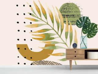 Modern vector illustration with tropical palm leaf, grainy grunge textures, doodles, minimal elements