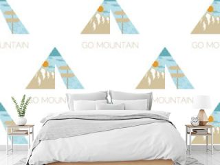 Adventure seamless pattern with camping tent, mountains labels badges. Go mountain text. Travel wallpaper background. Stock