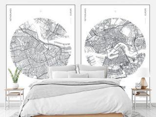 Travel poster, urban street plan city map Amsterdam and Rotterdam, vector illustration