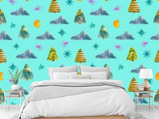 Seamless watercolor pattern of Christmas trees, mountains, crescent