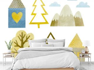 Set of watercolor elements house, fir, tree, mountains isolated on white background.