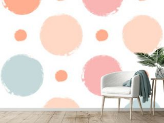 Vector polka dots seamless pattern, hand drawn girly watercolor stains. watercolor doted background.