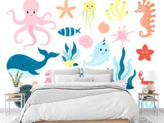 Cartoon sea life. Marine and oceanic fauna. Nvector