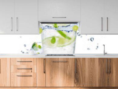 Fresh mojito drink with splash spiral around glass.