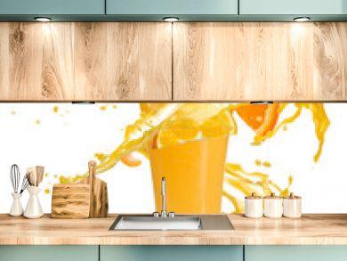 Orange cocktail with juice splash, isolated on white background