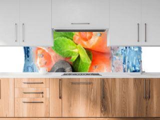 Fish rolls in ice cube
