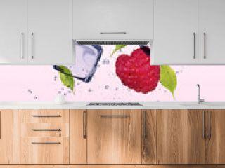Raspberries with ice cubes