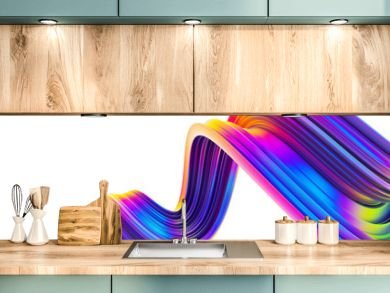 3D wavy bright abstract design element in holographic neon trendy colors