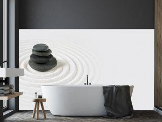 Zen japanese garden and black stones background. Horizontal banner