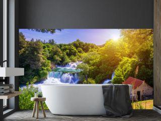 Waterfalls Krka, National Park, Dalmatia, Croatia. View of Krka National Park, Roski Slap location, Croatia, Europe. Beautiful world of Mediterranean countries. Traveling concept background.