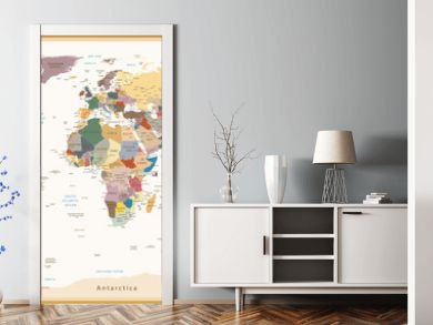 Highly Detailed Political World Map Vintage Colors