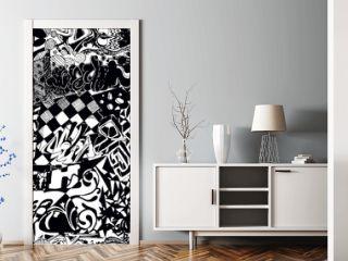 Black and white seamless pattern graffiti, sticker bombing