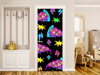 Crazy space alien pizza attack seamless pattern with pizza slices, lightning strikes, and colorful explosions. Black background.