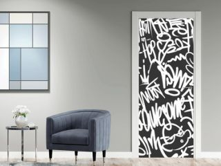 Vector graffiti tags seamless pattern, print design.