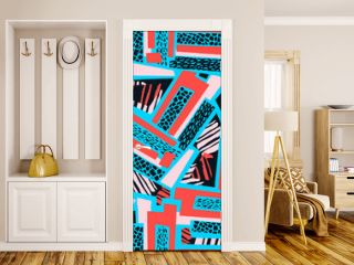 Geometric curved lines graffiti seamless hand craft expressive ink hipster pattern.