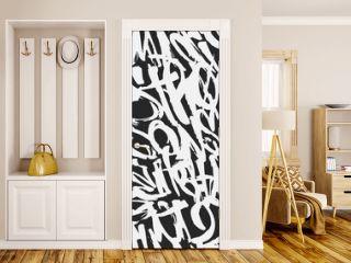 Vector graffiti grunge tags seamless pattern, print design.