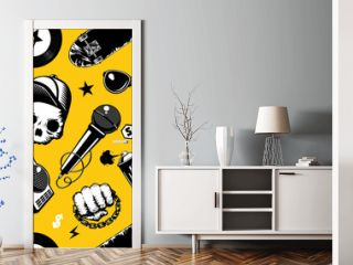Hip-hop seamless pattern with music equipment. Street culture background.