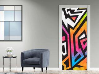 Bright graffiti geometric seamless pattern