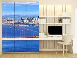 Panoramic view of famous Golden Gate Bridge