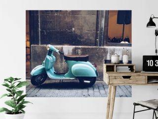 old, blue vintage motor scooter in Palma de Mallorca