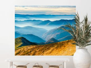 Lanscape with blue mountains
