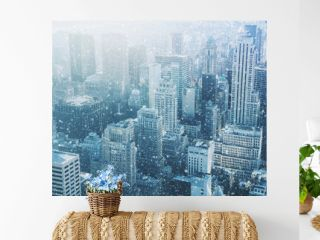 Snow in New York City - fantastic image,  skyline with urban sky