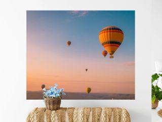 hot air balloons during snrise Cappadocia Kapadokya Turkey, Fairytale landscape hills