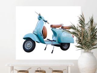 Light blue vintage motorcycle scooter isolated in white background. Adorable old scooter in perfect condition.