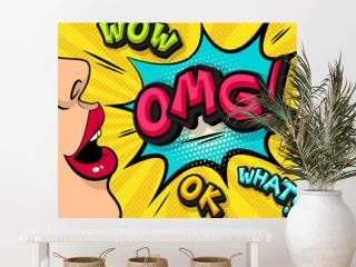 OMG!  Pop art cloud bubble. Wow, what,  ok, funny speech bubble. Trendy Colorful retro vintage background in pop art retro comic style. Illustration easy editable for Your design. Girl illustration.