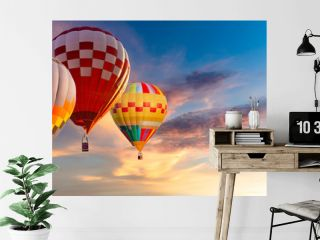 Beautiful landscape hot air balloons flying over sky at sunset