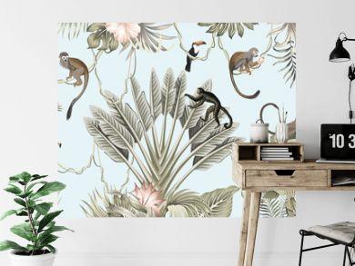 Hawaiian vintage botanical palm tree,banana tree, palm leaves, hibiscus flower, liana, monkey animal summer paradise floral seamless border blue background.Exotic jungle wallpaper.  G