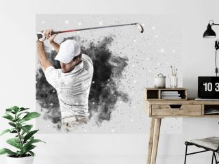 Golf Player coming out of a blast of smoke
