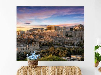 Die Akropolis von Athen, Griechenland, bei Sonnenuntergang