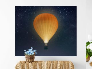 Blank white balloon with hot air mockup, night sky background, 3d rendering. Empty adventure airship on star heaven mock up. Clear large transport for tourism or sport template.