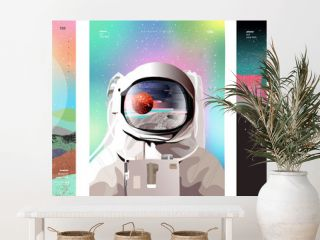 Vector illustration of space, cosmonaut and galaxy for poster, banner or background. Abstract drawings of the future, science fiction and astronomy