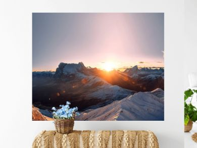 Panorama with amazing sunrise in south tyrol
