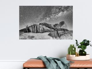 Panoramic view of La Digue Anse Source Argent at night, Seychelles
