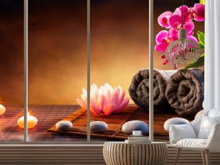 Spa Massage Treatment With Towels And Candles On Mat