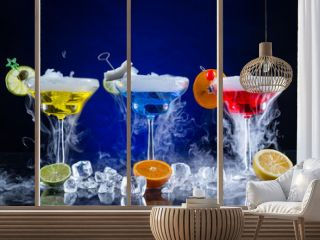 Martini drinks with smoked effect