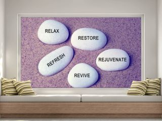 Wellness, spa and beauty concept - Relax, restore, refresh, rejuvenate and revive text on zen stones retro style background