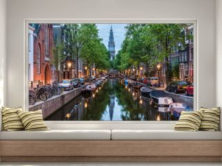 Amsterdam City, Illuminated Building and Canal at night, Netherlands