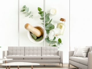 Spa Background. Natural/Organic spa cosmetics products, eco friendly bathroom accessories, eucalyptus leaves. Skincare concept on white background. Flat lay, top view