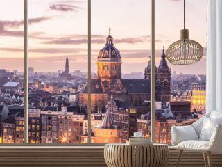 Amsterdam center skyline