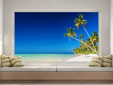 Panorama of tropical island with coconut palm trees on sandy bea